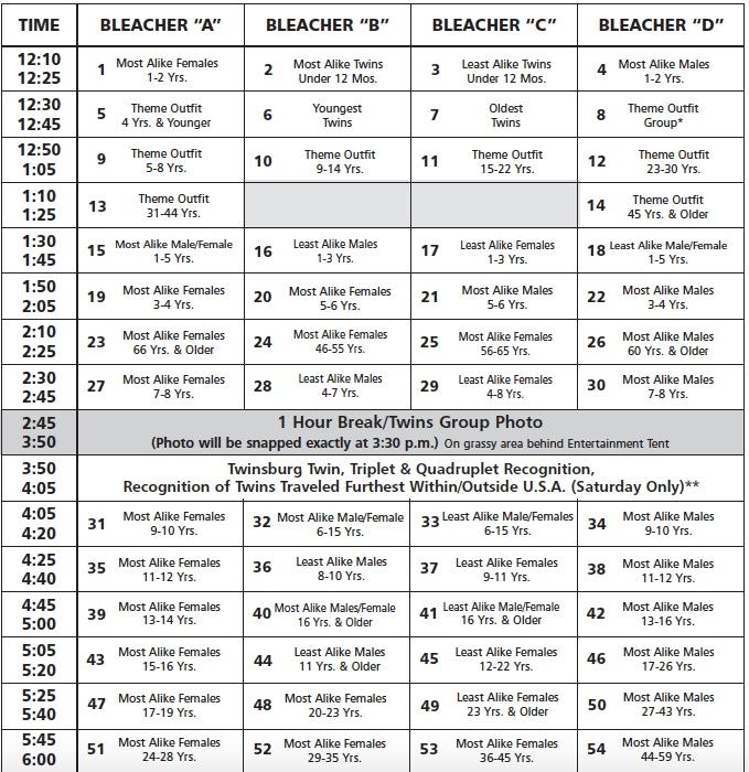 twins days contest schedule 2018